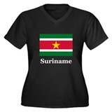 Suriname Women's Plus Size V-Neck Dark T-Shirt