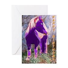 Purple Unicorn Birthday Card Blank