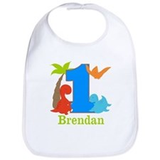 1st Birthday Dinosaur Personalized Bib