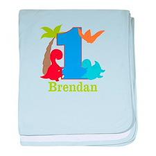 1st Birthday Dinosaur Personalized baby blanket