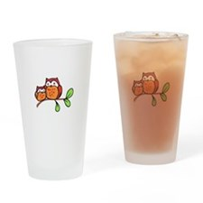 TWO CUTE OWLS Drinking Glass