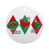 Peace Love Joy Christmas Ornament (Round)