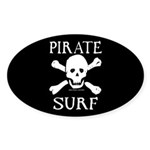 Pirate Surf Oval Sticker