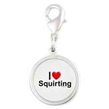 Squirting Silver Round Charm