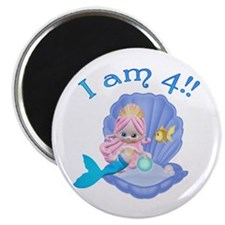 "Lil Mermaid 4th Birthday 2.25"" Magnet (10 pack)"