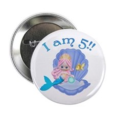 Lil Mermaid 5th Birthday Button