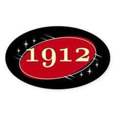 Year 1912 Black/Red Neo Retro Oval Decal