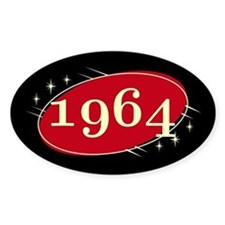 Year 1964 Black/Red Neo Retro Oval Decal