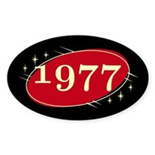 Year 1977 Black/Red Neo Retro Oval Decal