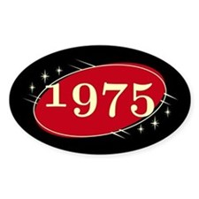 Year 1975 Black/Red Neo Retro Oval Decal