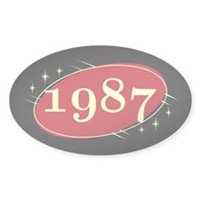 Year 1987 Black/Red Neo Retro Oval Decal