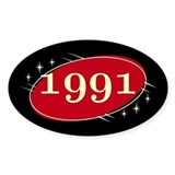 Year 1991 Black/Red Neo Retro Oval Decal