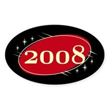 Year 2008 Black/Red Neo Retro Oval Decal