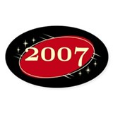 Year 2007 Black/Red Neo Retro Oval Decal