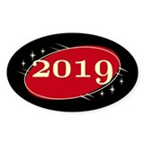 Year 2019 Black/Red Neo Retro Oval Decal