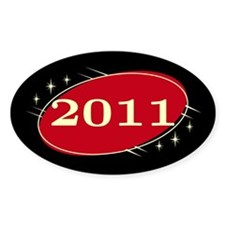 Year 2011 Black/Red Neo Retro Oval Decal