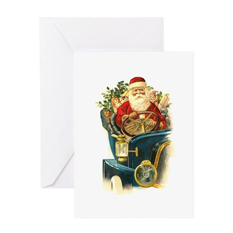 Vintage Santa Claus in a Classic Car Greeting Card