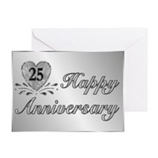 25th Anniversary - Silver Greeting Cards (Pk of 20