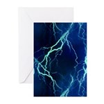 Cyan Lightning Greeting Cards (Pk of 20)