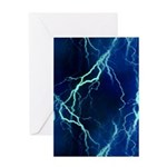 Cyan Lightning Greeting Card