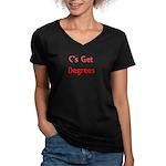 C Gets Degree Women's V-Neck Dark T-Shirt