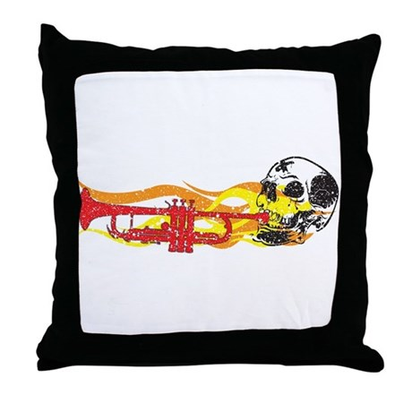 Skull Trumpet Throw Pillow