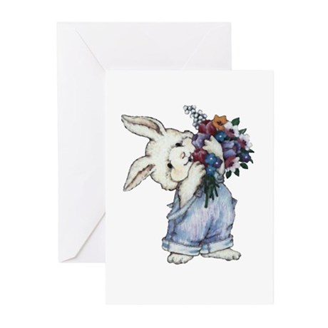 Bunny with Flowers Greeting Cards (Pk of 10)