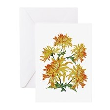 Golden Chrysanthemums Greeting Cards (Pk of 20)