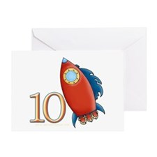 Boy's Rocket 10th Birthday Greeting Card