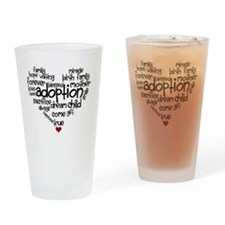 Adoption words heart Drinking Glass