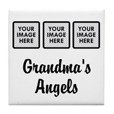 CUSTOM Grandmas Angels - 3 Grandkids Tile Coaster