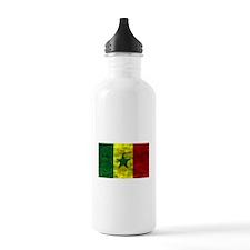 Distressed Senegal Flag Water Bottle
