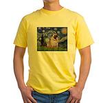 Starry Night and Pug Yellow T-Shirt