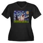 Starry Night and Pug Women's Plus Size V-Neck Dark