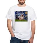 Starry Night and Pug White T-Shirt