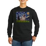 Starry Night and Pug Long Sleeve Dark T-Shirt