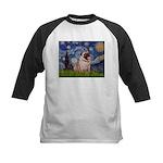 Starry Night and Pug Kids Baseball Jersey