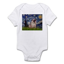 Starry Night and Pug Infant Bodysuit