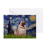 Starry Night and Pug Greeting Card