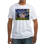 Starry Night and Pug Fitted T-Shirt