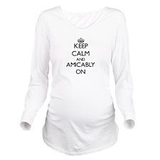 Keep Calm and Amicab Long Sleeve Maternity T-Shirt