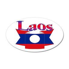Laos flag ribbon 20x12 Oval Wall Decal