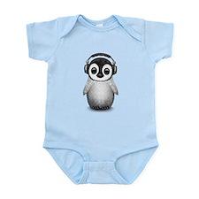 Baby Penguin Dj Wearing Headphones Body Suit