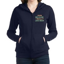 I run because I really like bee Women's Zip Hoodie