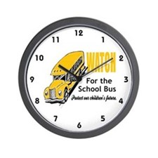 Watch for School Bus Wall Clock