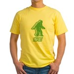 Bigfoot Silhouette Yellow T-Shirt - Own a piece of this cryptid mystery, own your Big Foot T-shirt and other cool Big Foot gift items today! 30-day satisfaction & money back guarantee! - Availble Sizes:Small,Medium,Large,X-Large,2X-Large (+$3.00) - Availble Colors: Yellow
