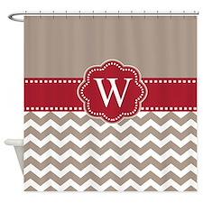 Taupe Red Chevron Monogram Shower Curtain
