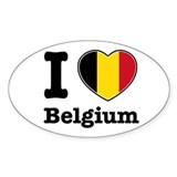 I love Belgium Oval Decal