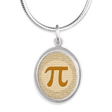 Pi Day Silver Oval Necklace