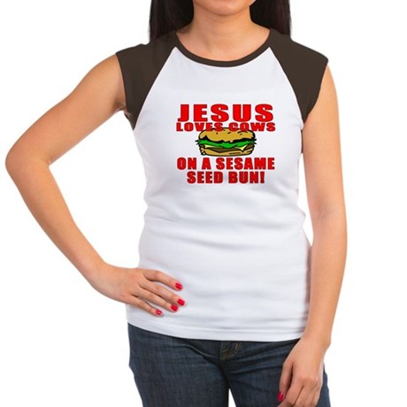 Jesus Loves Animals Women's Cap Sleeve T-Shirt